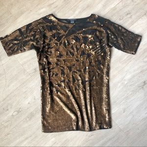 Bronze Abstract Sequin Mini Dress!!